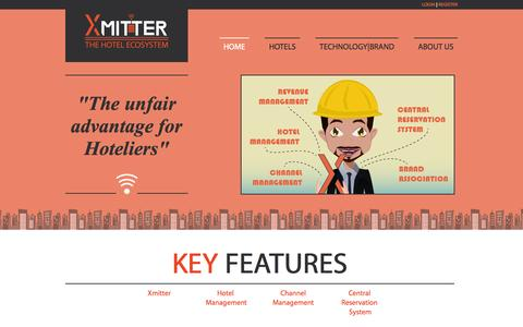 Screenshot of Home Page xmitter.com - Xmitter - Hospitality management product with PMS, CRS, RMS & Channel Managements - captured Oct. 7, 2014