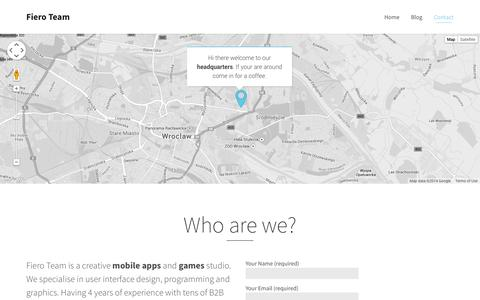 Screenshot of Contact Page fieroteam.com - Contact | Fiero Team – mobile apps and games - captured Oct. 9, 2014