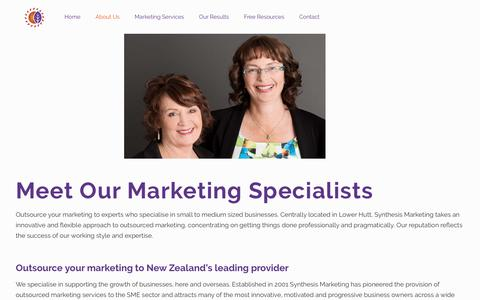 Screenshot of About Page synthesis.co.nz - Outsource Your Marketing Services | Synthesis Marketing - captured Oct. 19, 2018