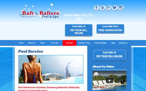 Screenshot of Services Page rafttorafters.com - Columbus pool service, weekly cleaning, pool maintenance, Greenburg - captured Oct. 20, 2018