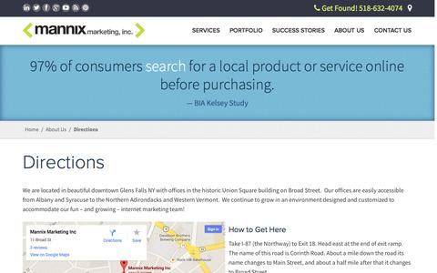 Screenshot of Maps & Directions Page mannixmarketing.com - Directions | Mannix Marketing, Inc. - captured Sept. 23, 2014