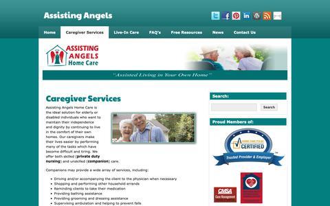 Screenshot of Services Page assistingangels.biz - Caregiver Services | Assisting Angels - captured Dec. 18, 2018
