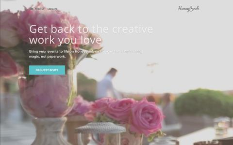 Screenshot of Home Page honeybook.com - HoneyBook: Tools for Event Planners & Creative Businesses - captured July 3, 2015