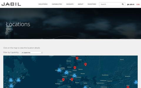Screenshot of Locations Page jabil.com - Locations | Jabil - captured May 26, 2017