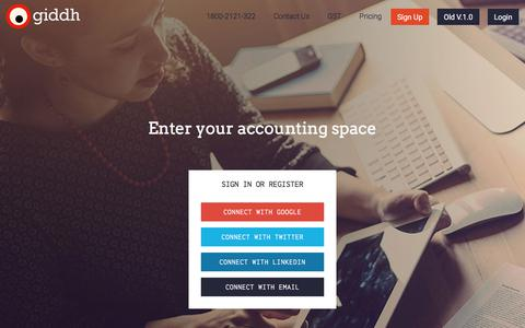 Screenshot of Signup Page giddh.com - Signup or Login - Giddh ~ Accounting at its Rough! - captured Feb. 1, 2018