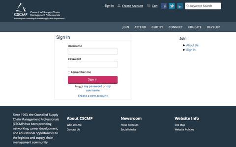 Screenshot of Login Page cscmp.org - Sign In - captured Dec. 29, 2016