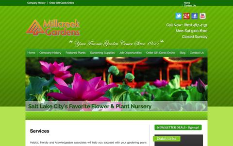 Screenshot of Services Page millcreekgardens.com - Landscape Design | Consultation | Salt Lake City, Utah | Millcreek Gardens - captured Oct. 27, 2014