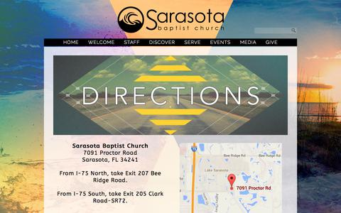Screenshot of Maps & Directions Page sarasotabaptist.com - DIRECTIONS «  Sarasota Baptist Church - captured Oct. 5, 2017