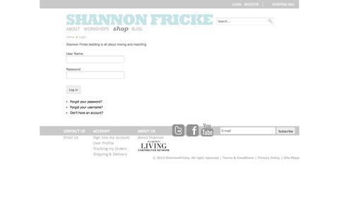 Screenshot of Login Page shannonfricke.com - Login - captured Sept. 30, 2014