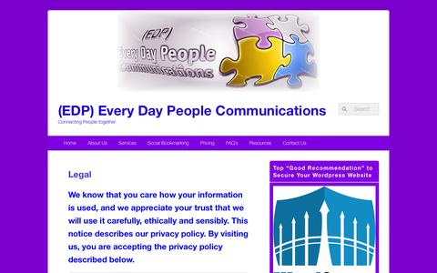 Screenshot of Terms Page edpcommunications.com - Legal | (EDP) Every Day People Communications - captured Nov. 28, 2016