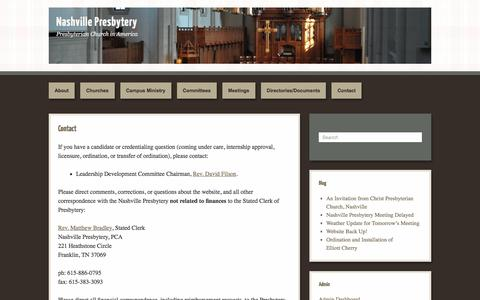 Screenshot of Contact Page nashvillepca.org - Contact | Nashville Presbytery - captured May 8, 2016
