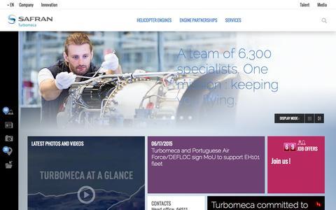 Screenshot of Home Page turbomeca.com - Turbomeca - captured Aug. 12, 2015