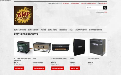 Screenshot of Home Page ampfactory.com - Quality Guitar Amplification at Great Values - captured Nov. 29, 2016