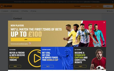 Screenshot of Contact Page colossusbets.com - Colossus Bets - captured June 13, 2018