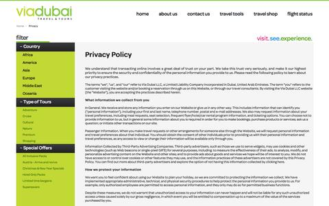 Screenshot of Privacy Page viadubai.ae - Privacy Policy - captured Oct. 7, 2014