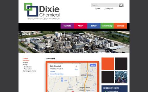 Screenshot of Maps & Directions Page dixiechemical.com - Directions - Dixie Chemical - captured Oct. 5, 2014