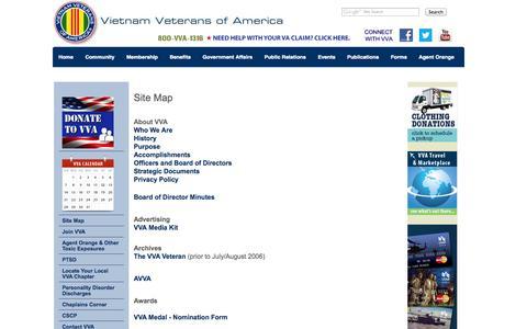 Screenshot of Site Map Page vva.org - VVA Site Map - captured Sept. 24, 2014
