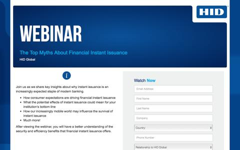 Screenshot of Landing Page hidglobal.com - Webinar - The Top Myths About Financial Instant Issuance - captured Sept. 11, 2018