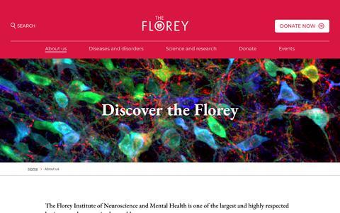 Screenshot of About Page florey.edu.au - About us - Florey - captured June 26, 2018