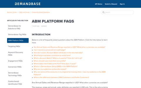 Screenshot of Support Page demandbase.com - ABM Platform FAQs – Success Center - captured Nov. 6, 2019