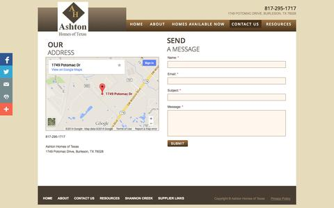 Screenshot of Privacy Page Contact Page ashtonhomesoftexas.com - Contact Us - captured Oct. 23, 2014