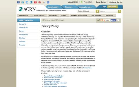 Screenshot of Privacy Page aorn.org - Privacy Policy : Association of periOperative Registered Nurses - captured Sept. 23, 2014