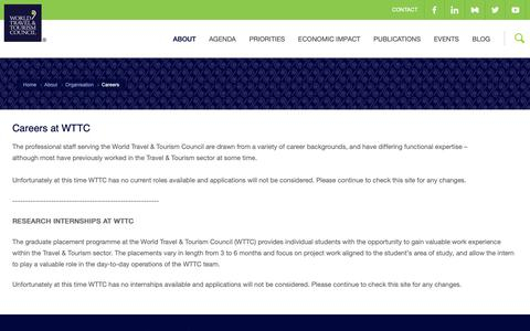 Screenshot of Jobs Page wttc.org - Careers at WTTC  | WTTC - captured Oct. 19, 2018
