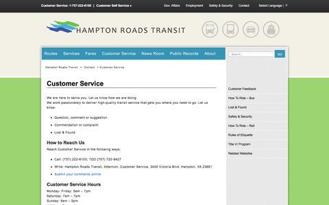 Screenshot of Support Page gohrt.com - Customer Service - Hampton Roads Transit - - captured Jan. 25, 2016