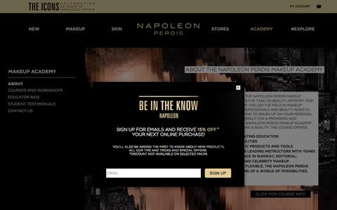 Screenshot of About Page napoleonperdis.com - About the Makeup Academy - captured Feb. 2, 2018