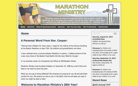 Screenshot of Home Page marathonministry.org - Marathon Ministry | Serving the Poorest of the Poor Since 1986 - captured Oct. 6, 2014