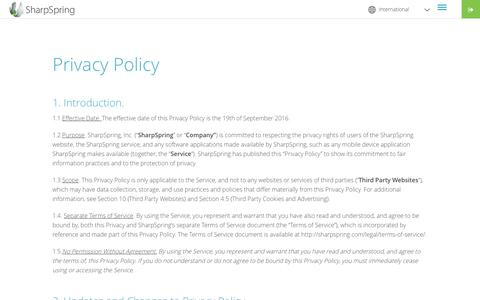 Privacy Policy | SharpSpring