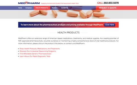 Screenshot of Products Page medpharm.net - HEALTH PRODUCTS - - captured Oct. 27, 2014