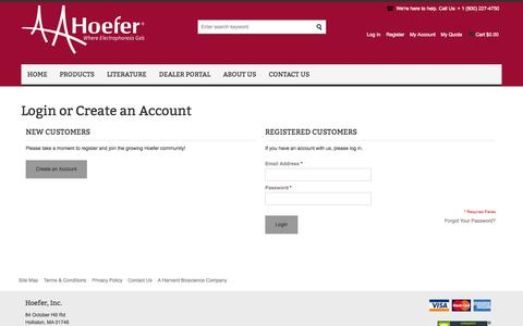 Screenshot of Login Page hoeferinc.com - Customer Login - captured Sept. 30, 2014