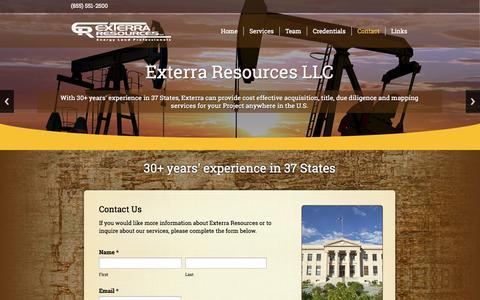 Screenshot of Contact Page exterraresources.com - Contact   - captured Oct. 3, 2014