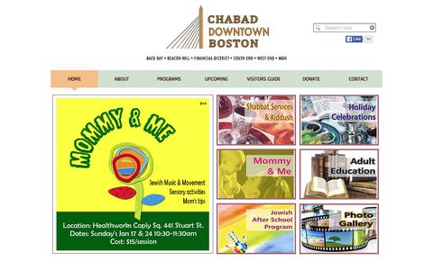 Screenshot of Home Page chabaddowntownboston.org - Chabad of Downtown Boston Back Bay and Beacon Hill - captured Jan. 27, 2016