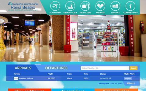 Screenshot of Home Page airportaruba.com - Aeropuerto Internacional Reina Beatrix, Aruba International Airport - captured Oct. 28, 2017
