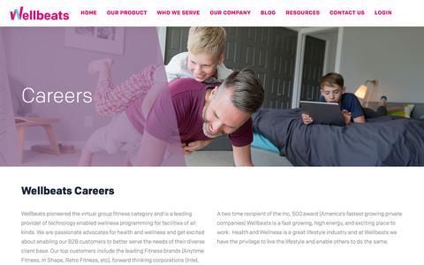 Screenshot of Jobs Page wellbeats.com - Careers - Wellbeats - captured March 11, 2018