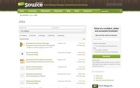 Screenshot of Jobs Page frontrangesource.com - Jobs - Front Range Source - captured Aug. 4, 2016