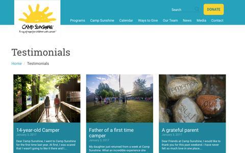 Screenshot of Testimonials Page mycampsunshine.com - Testimonials : CampSunshine - captured Sept. 26, 2018