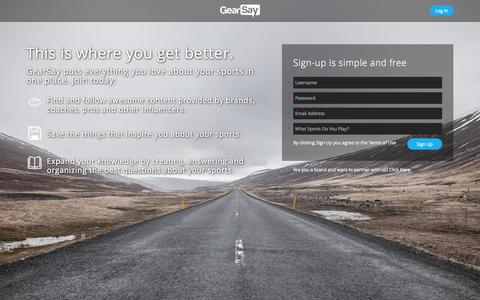 Screenshot of Home Page gearsay.com - GearSay! - captured Jan. 23, 2015