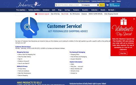 Screenshot of Support Page johareez.com - Johareez.com Help : Online Customer Support - captured Feb. 11, 2016