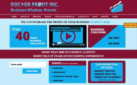 Screenshot of Home Page doctorprofitinc.com - Doctor Profit Inc - Sales, Marketing, Consulting Kitchener Waterloo Guelph - captured Jan. 7, 2016