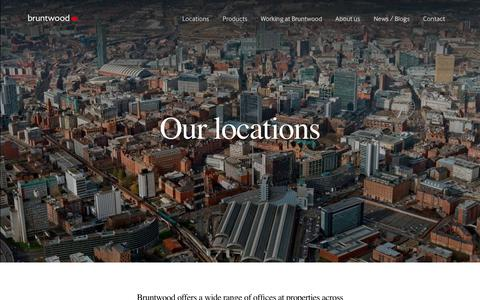 Screenshot of Locations Page bruntwood.co.uk - Our Locations – Manchester, Leeds, Liverpool, Birmingham| Bruntwood - captured Aug. 4, 2018
