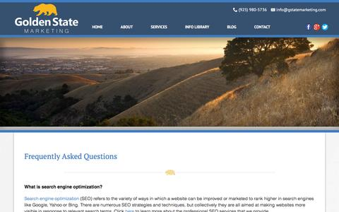 Screenshot of FAQ Page gstatemarketing.com - Golden State Marketing: Frequently Asked Questions - captured Jan. 31, 2016