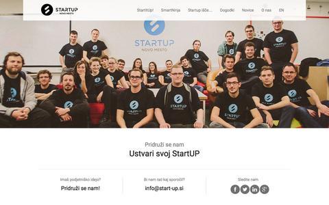 Screenshot of Home Page start-up.si - StartUP Novo mesto  | Ustvari svoj StartUP - captured Feb. 16, 2016