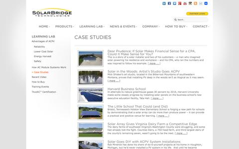 Screenshot of Case Studies Page solarbridgetech.com - Case Studies | SolarBridge Technologies - captured Sept. 12, 2014