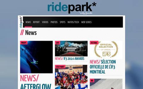 Screenshot of Press Page ridepark.com - News - ridepark* - captured Sept. 30, 2014