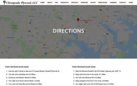 Screenshot of Maps & Directions Page chesapeakeplywood.com - Directions Chesapeake Plywood - captured Nov. 4, 2018