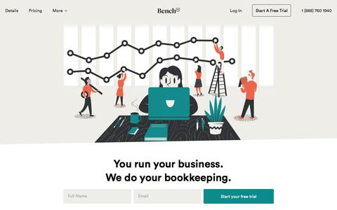 Screenshot of Home Page bench.co - Bench — Online Bookkeeping for Your Small Business - captured Nov. 25, 2017