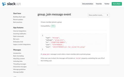 group_join message event | Slack